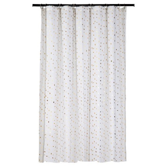 Gold Diamond Confetti Shower Curtain